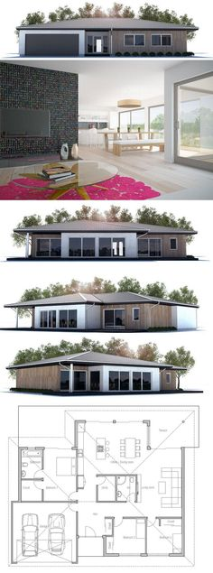 Modern Architecture, House Design with three bedrooms. Floor Plan from design interior design ideas Modern House Plans, Small House Plans, House Floor Plans, Building Plans, Building A House, Facade Design, House Design, Floor Design, Casas Containers