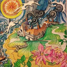 """""""Coverack in Inktense pencils and white signo gel pen #magicalcity #lizziemarycullen #colouringbooks"""""""