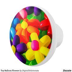 Toy Balloon Flowers Ceramic Knob