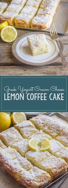 Greek Yogurt Cream Cheese Lemon Coffee Cake - sweet and moist with a light lemon flavor and a creamy, crumbly topping : lovelylittlekitchen Lemon Desserts, Lemon Recipes, Just Desserts, Sweet Recipes, Delicious Desserts, Cake Recipes, Dessert Recipes, Yummy Food, Coffee Cake
