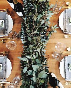 fresh eucalyptus table runner for thanksgiving