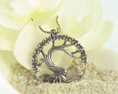 Twisted Tree Necklace in Antiqued Sterling Silver-Tree of Life > Tree of Life Necklaces-woot & hammy Tree Of Life Jewelry, Tree Of Life Necklace, Silver Hoop Earrings, Silver Charms, Silver Ring, Bracelets For Men, Silver Bracelets, Pig Necklace, Twisted Tree