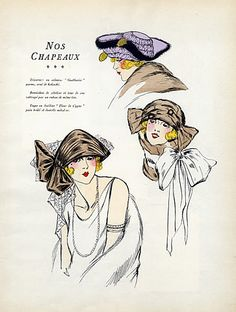 Hats 1922 Tricorne, Fur Hat, Toque, Fashion Illustration, Pochoir