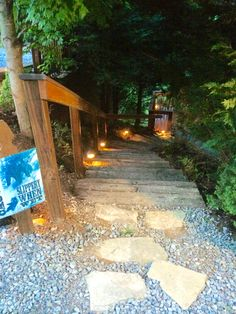 The pathway is lighted during the night all the way to the fire pit are for your safety!