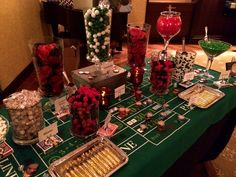 Casino night party, harlem nights party, game night parties, las vegas part Casino Party Games, Casino Party Decorations, Casino Night Party, Casino Theme Parties, Party Centerpieces, Party Themes, Birthday Parties, Night Parties, Vegas Party