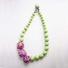 Aros Knot Necklace . Violet & Apple green