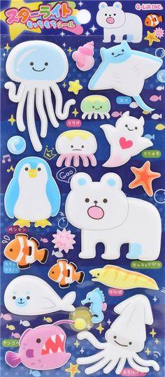cute polar bear penguin sea creature puffy 3D sponge stickers from Japan 2