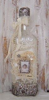 Altered wine bottle by Yvonne