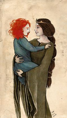 Young Princess Merida and Queen Elinor