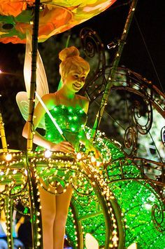 Beautiful Tinkerbell in the Electrical Parade at the Magic Kingdom in Florida. Walt Disney World, Disney World Magic Kingdom, Disney Parks, Disney Pixar, Orlando Disney, Disney Cruise, Tinkerbell And Friends, Disney Fairies, Disney Vacations