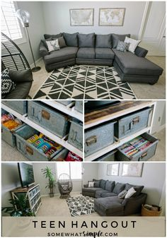 Comfy, durable, and stocked with snacks & here is our home loft, which happens to be the perfect teen hangout! Loft& The post Loft Room Reveal Teen Lounge Rooms, Teen Game Rooms, Teen Hangout Room, Boy Rooms, Teen Playroom, Teen Basement, Cool Basement Ideas, Basement Bathroom, Basement Bedrooms