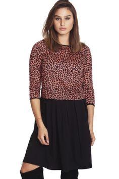 Shirt-Animal-Print-S-Women-Top-Womens-Size-Blouse-Giraffe-Black-Screenprint