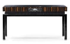 Console with Black Legs by Taylor Llorente | A high profile, highly specified & stylised contemporary designer macassar console table. http://modernconsoletables.net
