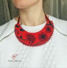 Red poppies, Ukrainian necklace, Handmade necklace, Gift for her, Flowers necklace, Beaded necklace, Elegant necklace, Folk style, Ethnic style, for women, bib necklase, jewelry on the neck, red necklace