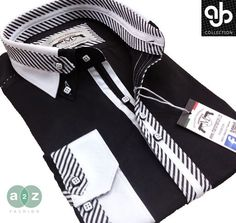 Brand New Men's Formal, Smart, Black & White Double Collar Casual Italian Design Slim Fit Shirt, with Contrast Black, & White Striped NEW DESIGN - S - 4XL