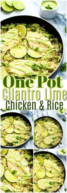 One Pot Meals Recipes – Quick And Easy To Make One Pot Cilantro Lime Chicken & Rice:Make your winter days more wenjoyable and yummy with these one pot meals recipes. These recipes will really make your weekend more special and memorable. Lime Recipes Dinner, Lime Chicken Recipes, Cilantro Lime Chicken, Mexican Food Recipes, Chicken Recepies, Quick Meals To Make, Healthy One Pot Meals, Easy One Pot Meals, Healthy Recipes