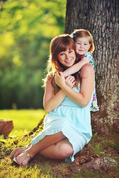 Mother-daughter pose for toddler or older child. Cute for mother-son also.