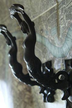 アンティークコートフック マーメイド人魚 キャストアイアン