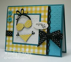 Stamps: Fabulous Phrases, Up, Up & Away (polka dots for bikini)  Paper: Island Indigo, Tempting Turquoise, Whisper White  Ink: Daffodil Delight, Basic Black  Accessories: Stripes Textured Impressions Folder, Scallop Trim Border Punch, Cricut Life's a Beach Cartridge, Basic Black Scallop Gingham Ribbon, Small Oval Punch, Brights Buttons, Perfect Polka Dots Textured Impressions Folder