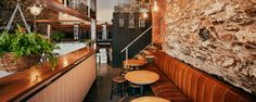 Adelaide bar Clever Little Tailor cuts a dash with bespoke early Century interior. Restaurant Interior Design, Cafe Interior, Interior Ideas, Commercial Design, Commercial Interiors, Café Bistro, Liquor Bar, Booth Seating, Café Bar