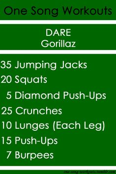 Love this song! Gorrilaz Dare one song workout One Song Workouts, Workout Songs, Fit Board Workouts, Fun Workouts, At Home Workouts, Outdoor Workouts, Kettlebells, Workout Challenge, Workout Plans