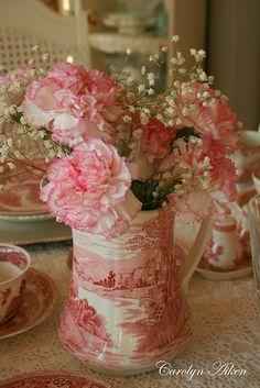 Pretty Transferware vase//board by Katherine Yates - Beautiful dishes, & table settings.