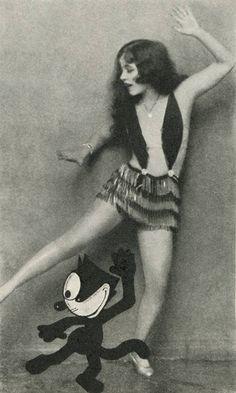 ann pennington teaching felix the cat how to dance the black bottom. photoplay magazine (1.1927)