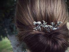 Silber schottische Distel Haar Kamm Leaf Haar Kamm Filiale Haar Kamm Haare Stück Braut Haarschmuck Hochzeit   Meine besten Verkäufer Haar Kamm ist