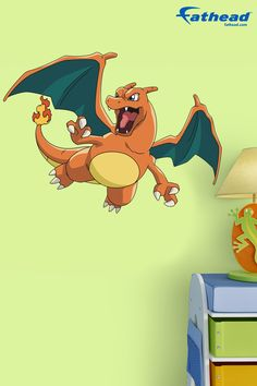 Removable wall decals make decorating your girls & boys rooms easy! SHOP Pokémon vinyl wall graphics and wall murals at  http://www.fathead.com/kids/pokemon/charizard-fathead-jr-wall-decal/ | DIY Kids Fun Bedroom Decor Ideas | Boys + Girls Bedroom Wall Art Decor