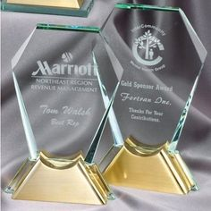Our Hexagon Glass Award with Gold Metal Base features a thick glass engraving area mounted on a gold metal base. is x and is x Both include free personalized engraving. Glass Awards, Glass Plaques, Glass Picture Frames, Glass Engraving, Thing 1, Hexagon Shape, Diamond Shapes, Perfume Bottles, Base