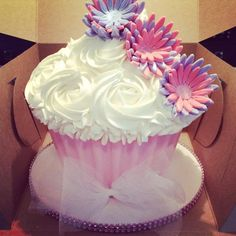 Pink and lavender giant cupcake