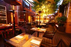 Fire pits, fountains, and stolen kisses happen on this patio...  I wanna be here.  Wilshire Restaurant, Los Angeles.