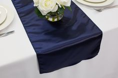Navy Blue Satin Table Runner  Wedding Table Runners by GOLinen