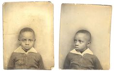 ** Vintage Photo Booth Picture **   Sweet African American boy.  circa 1937