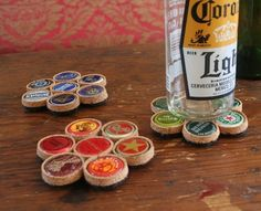 Looks like the edges of the bottle caps are straighten and then wrapped in cork with felt on the bottom. Neat!