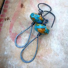 Turquoise and hammered sterling silver earrings  by noblegnome, $36.00