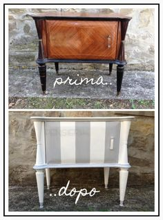 {Pensierichic} Restauro a strisce di un comodino. Paint Furniture, Home Decor Furniture, Furniture Projects, Furniture Makeover, Office Furniture, Brick Crafts, Online Furniture Stores, Chic Bathrooms, Upcycled Furniture