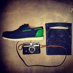 Our Mocassin Green combined with vintage camera and the new brand Daily Bags