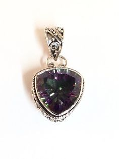 Sterling Silver Triangular Faceted Mystic Topaz Pendant. #Pendant