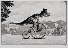 T-Rex rides a bike! Illustration by Drew Northcotts #steampunk #tophat
