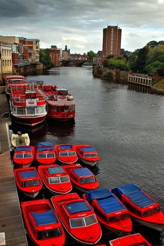 Red boats.