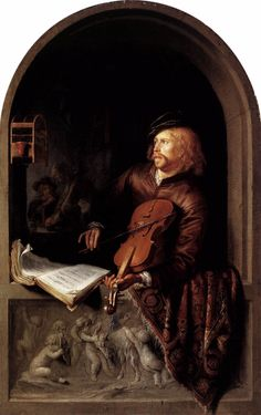 """Violin Player,  Gerard Dou, c. 1613-75 b. Netherlands  Dou was the first of what are known as the """"fijnschilders"""" fine painters, who concentrated on small, detailed pictures and perfected their work until the brushstrokes were invisible. A very fifferent approach to Rembrandt's."""