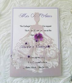 Laser Cut Dress Quinceanera Invitations Also can be used for Sweet
