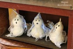 Halloween ghosts made from gourds, paint and cheesecloth @ houseofhawthornes.com