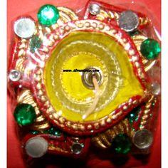 6 Diya Clay Acrylic Silver Painted Gel and Mirror Work Designer Diya - Online Shopping for Diyas and Lights by Store Utsav