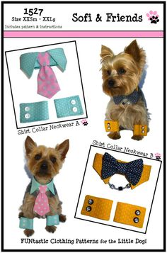 ON SALE Dog Shirt Collar & Dog Cuff Pattern 1527 by SofiandFriends