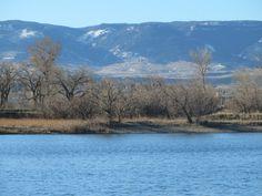 Pond at eastside dog park, Casper, Wyoming; Casper Mountain in background