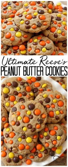 Best Ever Reese's Peanut Butter Cookies recipe made with a full cup of peanut butter! We added chocolate chips plus peanut butter chips & Reese's Pieces to our favorite peanut butter cookie recipe to get the ULTIMATE chocolate peanut butter cookies! Reese Peanut Butter Cookies Recipe, Peanut Butter Chips, Peanut Butter Recipes, Brownie Cookies, Oatmeal Cookies, Yummy Cookies, Easy Cheesecake Recipes, Best Cookie Recipes, Easy Cake Recipes