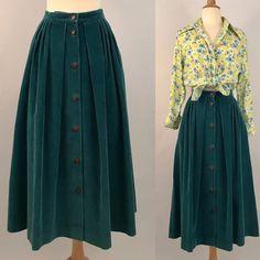 Vintage 70s Teal Corduroy Midi Skirt