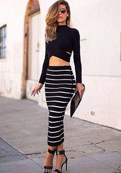 Black Striped 2-in-1 Crop Sexy Dress - Maxi Dresses - Dresses